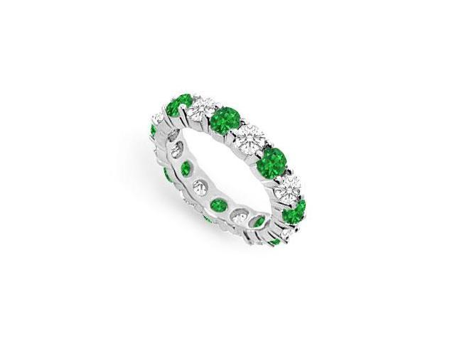 Created Emerald Eternity Band with CZ Four Carat on 925 Sterling Silver
