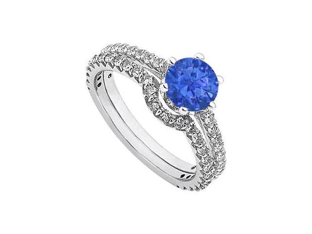 September Birthstone Sapphire and Diamond Engagement Rings with Wedding Band Set 14K White Gold