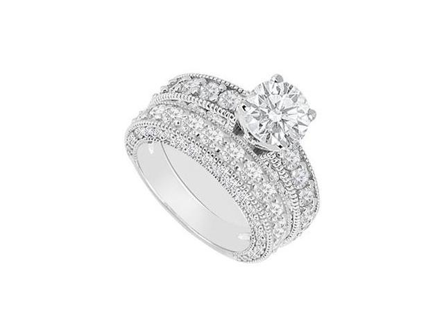 14K White Gold  Diamond Engagement Ring with Wedding Band Set 3.50 CT TDW