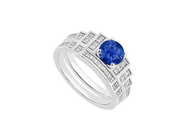 Natural Blue Sapphire Engagement Ring and Diamond Wedding Ring in White Gold 14K 1.05 CT TGW