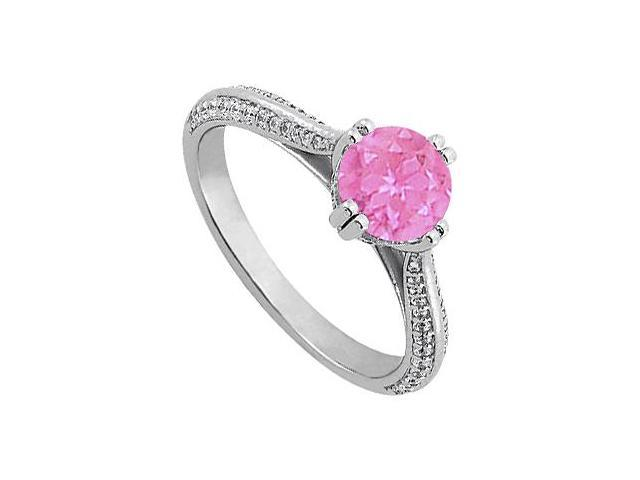September Birthstone Created Pink Sapphire  CZ Engagement Rings in Sterling Silver 1.25 CT TGW