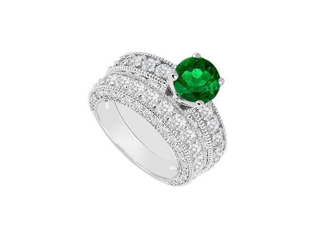 14K White Gold  Emerald and Diamond Engagement Ring with Wedding Band Set 3.50 CT TGW