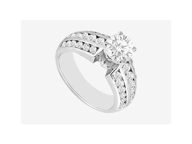 Engagement Rings in 14K White Gold 1.60 Carat TGW Cubic Zirconia.