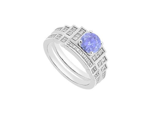 14K White Gold Wedding Engagement Ring Sets with Tanzanite and Diamond 1.05 Carat TGW