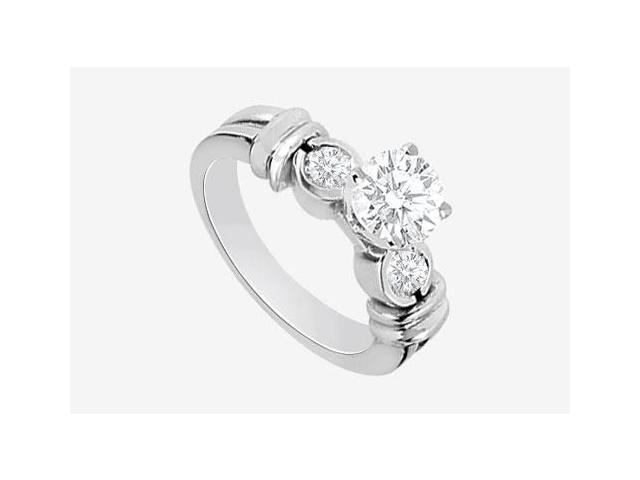 Engagement Ring in 14K White Gold 1.30 Carat TGW Cubic Zirconia .