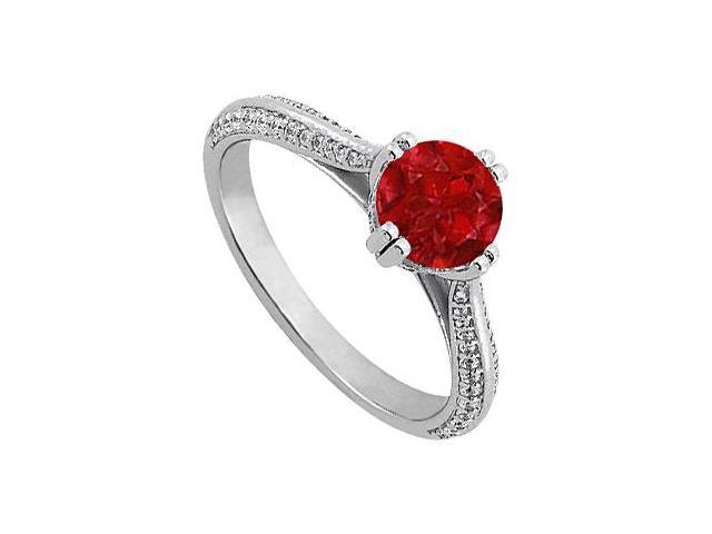 July Birthstone Created Ruby  CZ Engagement Rings in Sterling Silver 1.25 CT TGW