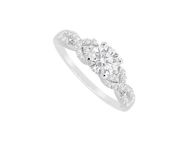 Engagement Ring with Cubic Zirconia in 14K Whit Gold Total Gem weight of 0.75 Carat