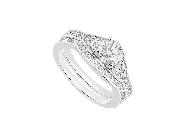 Diamond Wedding Engagement Ring Sets in 14K White Gold 0.80 Carat Diamonds