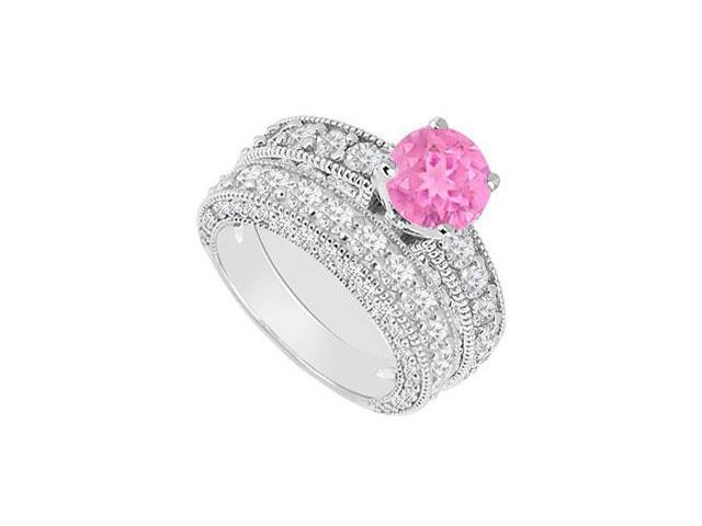 14K White Gold  Pink Sapphire and Diamond Engagement Ring with Wedding Band Set 3.50 CT TGW