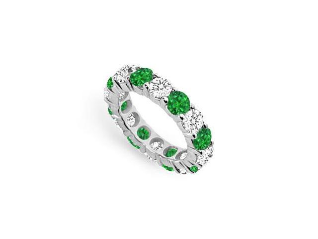 Created Emerald and CZ Eternity Band in Sterling Silver Seven Carat TGW.