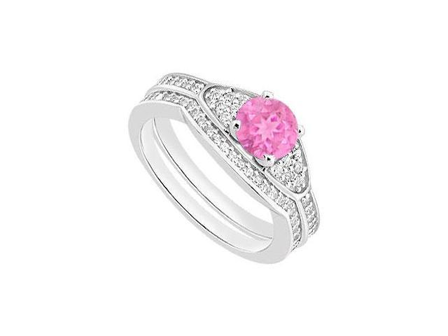 14K White Gold Pink Sapphire Engagement Ring with Diamond Bands in 14K White Gold 1.05 Carat TGW