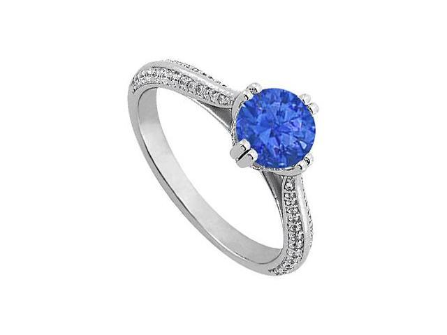 September Birthstone Created Sapphire  CZ Engagement Rings in Sterling Silver 1.25 CT TGW