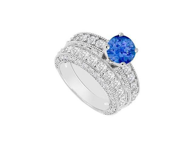 14K White Gold  Sapphire and Diamond Engagement Ring with Wedding Band Set 3.50 CT TGW