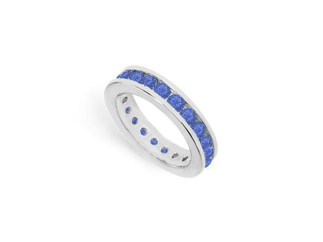 2ct Created Blue Sapphire Eternity Band Channel Set in 925 Sterling Silver