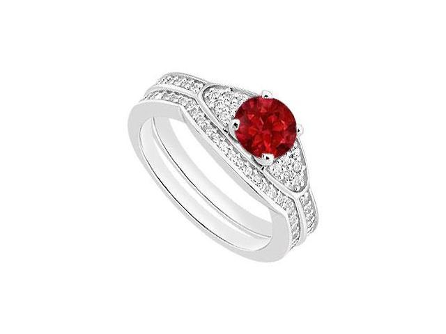 Natural Ruby Engagement Ring and Diamond Wedding Bands Set in White Gold 14K 1.05 Carat TGW