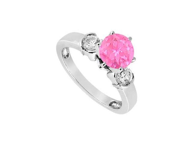 Created Pink Sapphire and Cubic Zirconia Ring in Sterling Silver 1.50.ct.tw