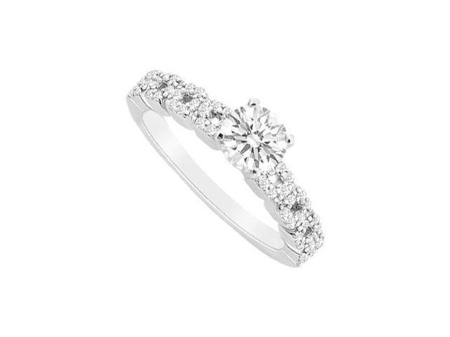 CZ in 14K White Gold Engagement Ring with 0.75 Carat Total Gem Weight