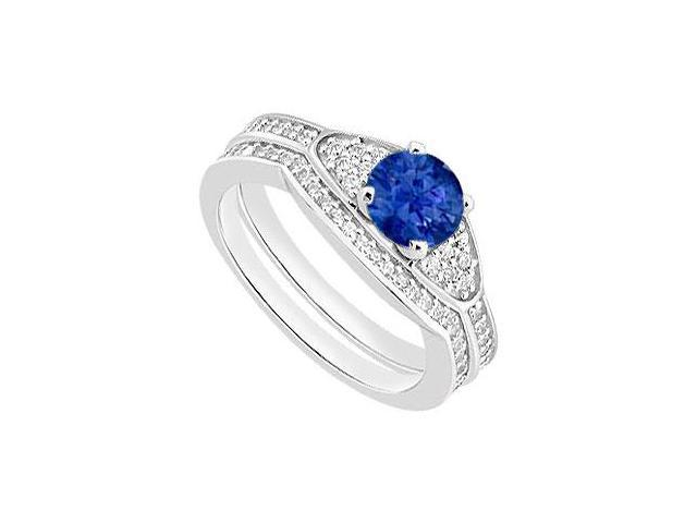 Diamond Wedding Bands and Blue Sapphire Engagement Ring Sets in 14K White Gold 1.05 Carat TGW