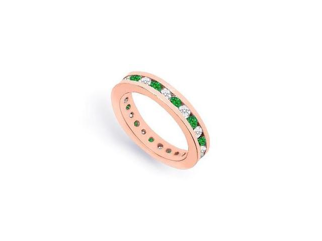 Eternity Ring CZ and Emerald Created in 14K Rose Gold Vermeil Channel Set. 1CT. TGW.