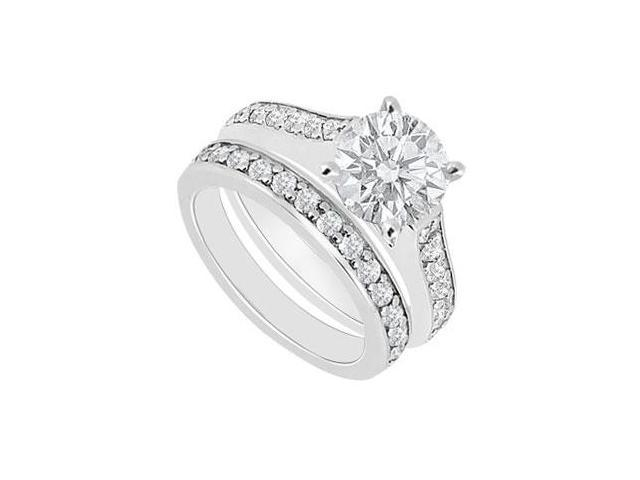 14K White Gold  Diamond Engagement Ring with Wedding Band Set 1.10 CT TDW