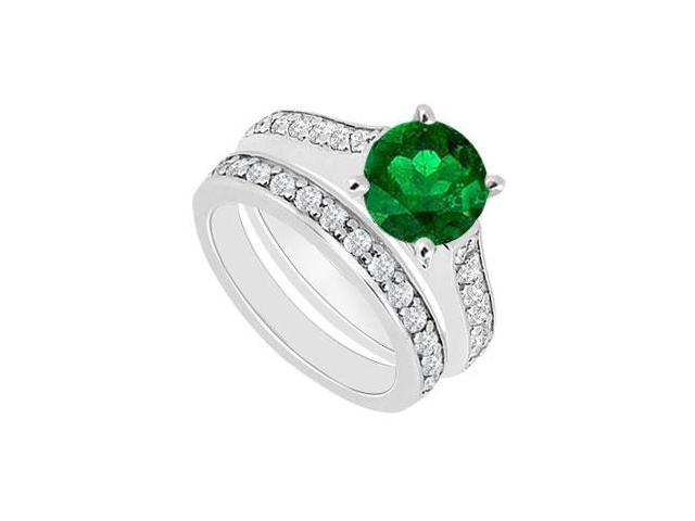 14K White Gold  Emerald and Diamond Engagement Ring with Wedding Band Set 1.10 CT TGW