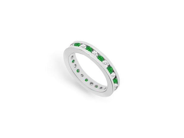 Eternity Ring CZ and Emerald Created in 925 Sterling Silver Channel Set. 1CT. TGW.