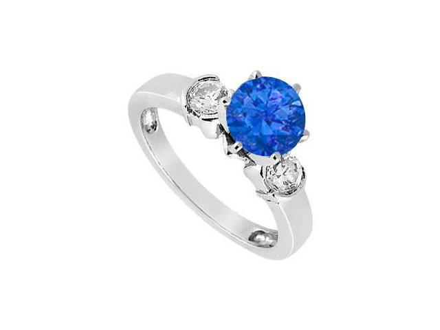 Created Sapphire and Cubic Zirconia Ring in Sterling Silver 1.50.ct.tw