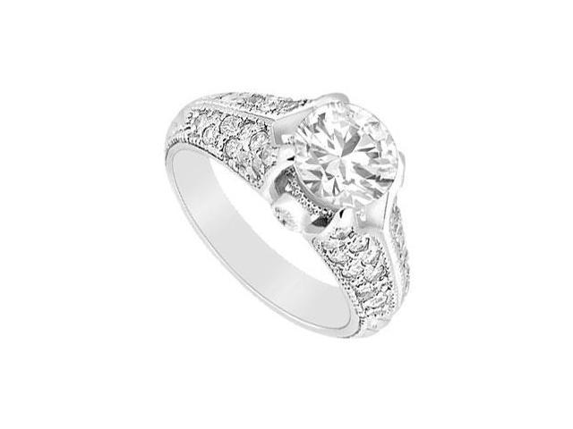 Cubic Zirconia Engagement Ring .925 Sterling Silver 1.00 CT TGW