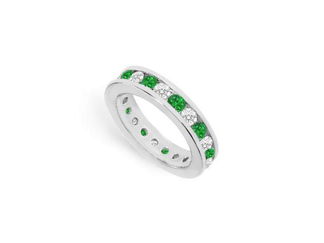 CZ Eternity Bands with Emerald Created Two Carat in 925 Sterling Silver Channel Set