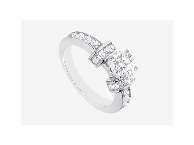 Engagement Ring Prong Set Cubic Zirconia in 14K White Gold 2.10 Carat TGW
