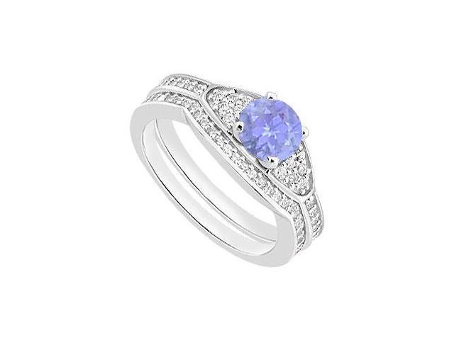14K White Gold Tanzanite Engagement Ring with Diamond Wedding Bands of 1.05 Carat TGW