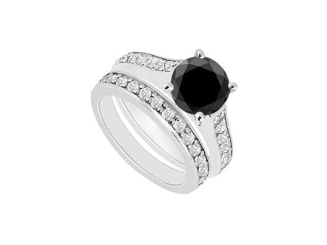 14K White Gold  Black and White Diamond Engagement Ring with Wedding Band Set 1.10 CT TDW