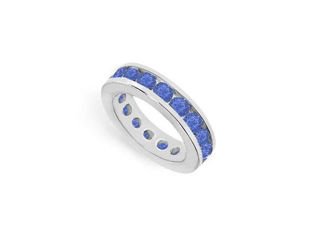 Eternity Rings Six Carat Created Blue Sapphire in 925 Sterling Silver Channel Setting