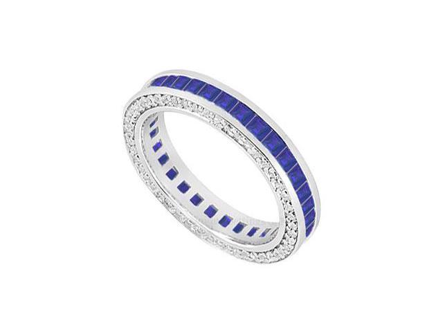 Sapphire and Diamond Wedding Band  14K White Gold - 2.00 CT TGW