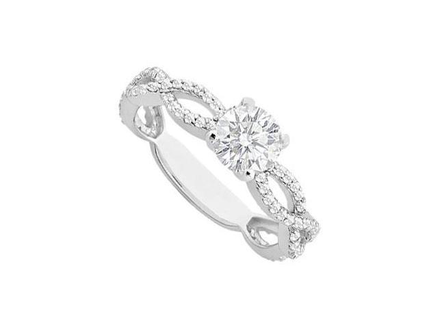 1 Carat Engagement Ring of Cubic Zirconia in 14K White Gold