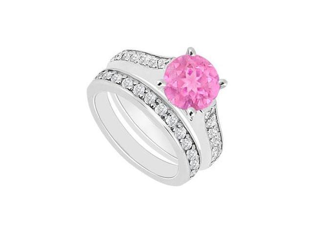 14K White Gold  Pink Sapphire and Diamond Engagement Ring with Wedding Band Set 1.10 CT TGW