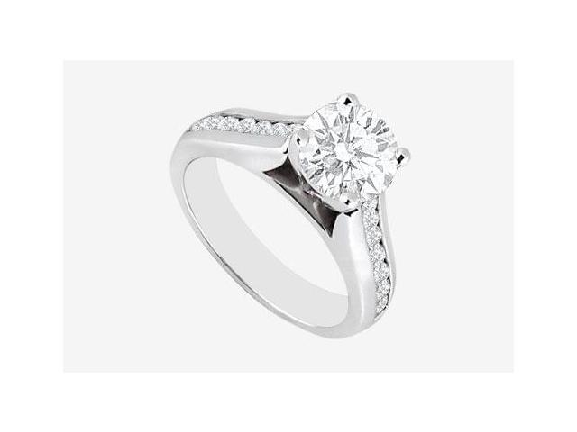 Engagement Ring 2 carat center Cubic Zirconia in 14K White Gold 2.60 Carat TGW