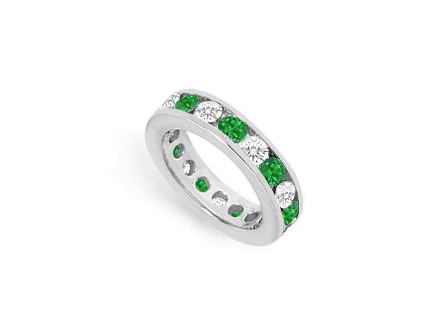 CZ Eternity Bands with Emerald Created 3 Carat Channel Set in 925 Sterling Silver