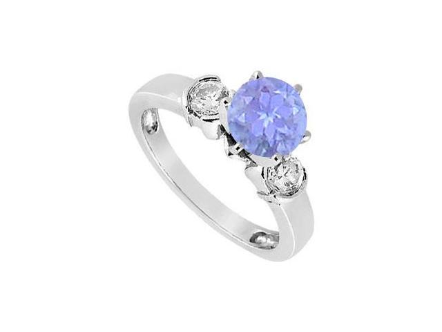 Created Tanzanite and Cubic Zirconia Ring in Sterling Silver 1.50.ct.tw