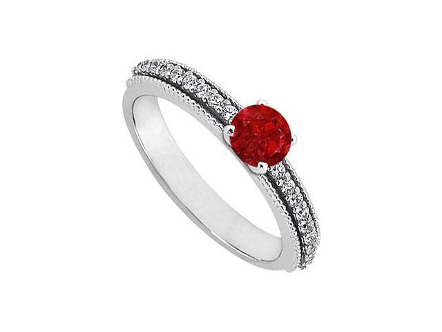 July Birthstone Ruby and Cubic Zirconia Engagement Ring in Sterling Silver 0.75 CT TGW