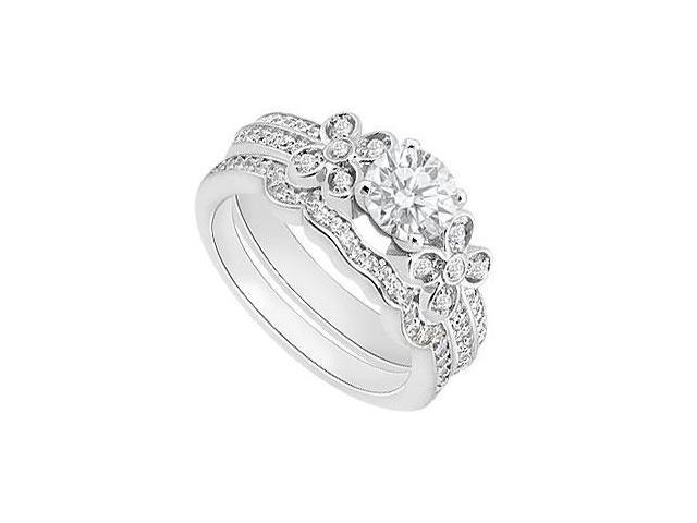 Diamond Engagement Rings with Diamond Wedding Band in 14K White Gold 0.90 Carat Diamonds