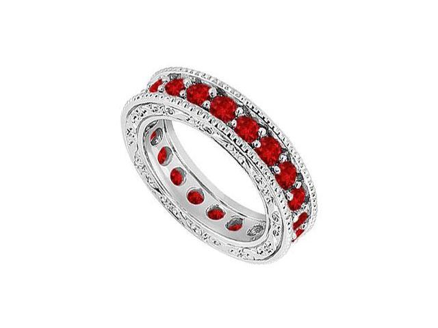 Ruby Wedding Band  14K White Gold - 1.50 CT TGW