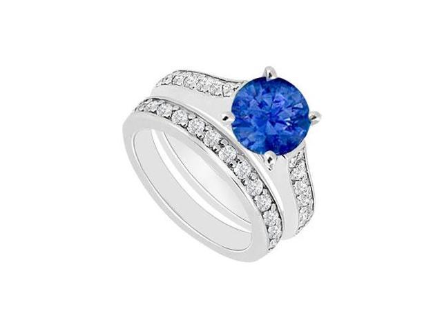 14K White Gold  Blue Sapphire and Diamond Engagement Ring with Wedding Band Set 1.10 CT TGW