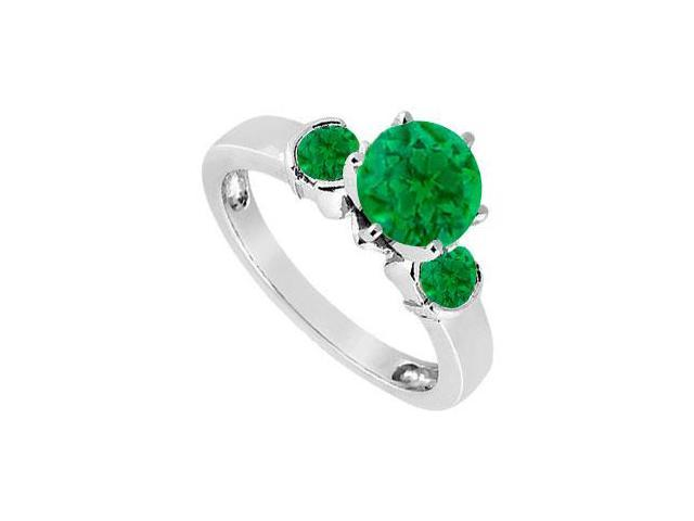 Created Emerald Three-Stone Ring in Sterling Silver 1.50 ct. t.w.