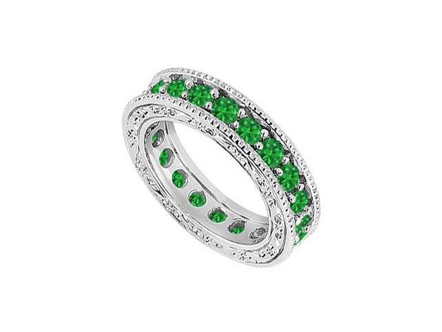 Emerald Wedding Band  14K White Gold - 1.50 CT TGW