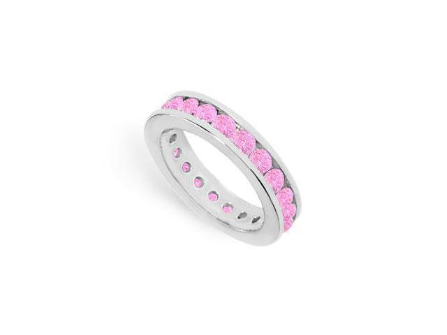 Created Pink Sapphire Eternity Band on 925 Sterling Silver 2CT TGW in Channel Setting