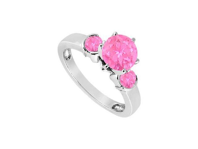 Created Pink Sapphire Three-Stone Ring in Sterling Silver 1.50 ct. t.w