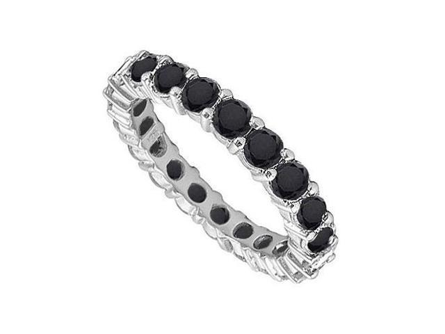 14K White Gold  Pure Black Natural Onyx Prong Set Eternity Band 4.00 CT TGW
