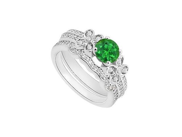Diamond and Emerald Engagement Ring Sets with Diamond Bands in 14K White Gold 1.15 Carat TGW