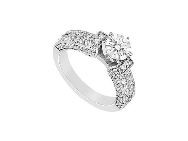 14K White Gold Engagement Ring with Cubic Zirconia 1.50 Carat Total Gem Weight
